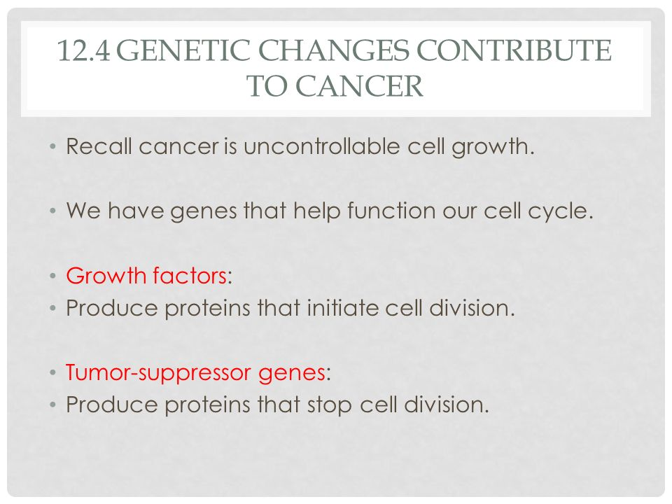 12.4 Genetic changes contribute to cancer