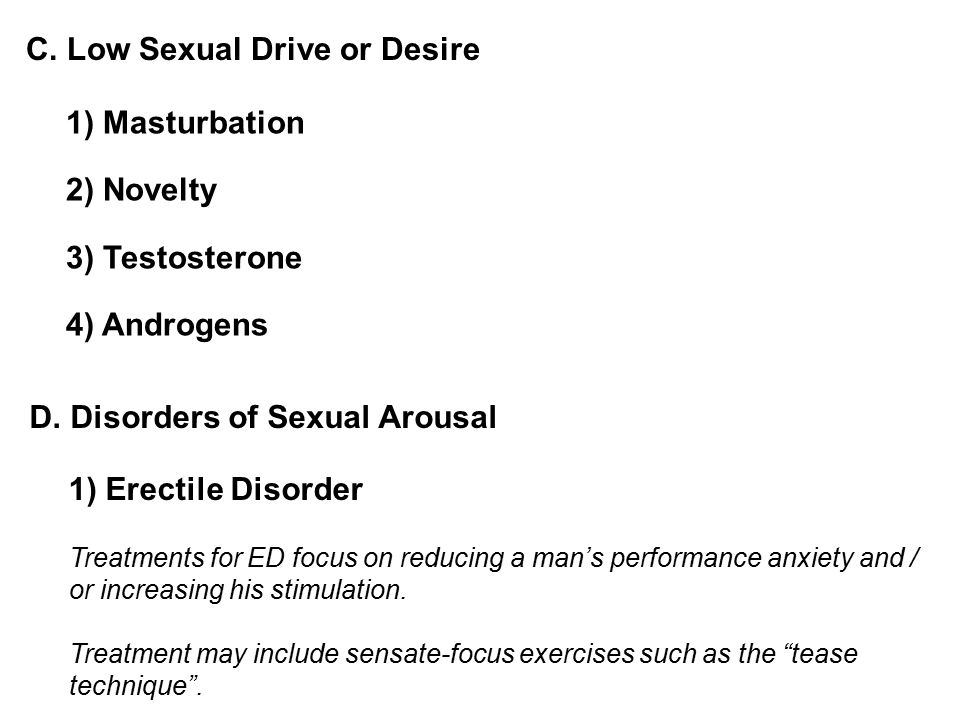 C. Low Sexual Drive or Desire