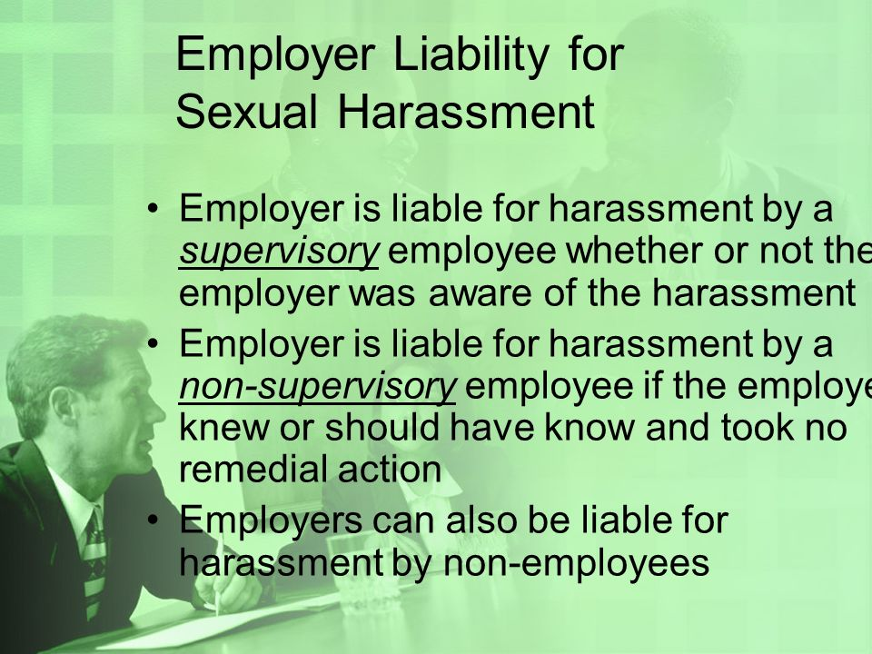 Employer and sexual harassment liability of non-employees