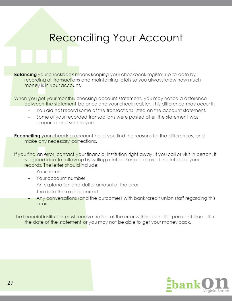 Whats The Purpose Of Balancing Or Monitoring Your Checking Account >> Bank On It The Basics Participant S Guide Ppt Download