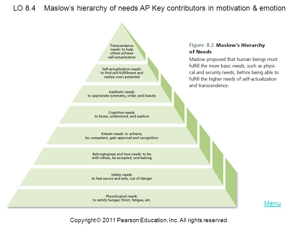 LO 8.4 Maslow's hierarchy of needs AP Key contributors in motivation & emotion
