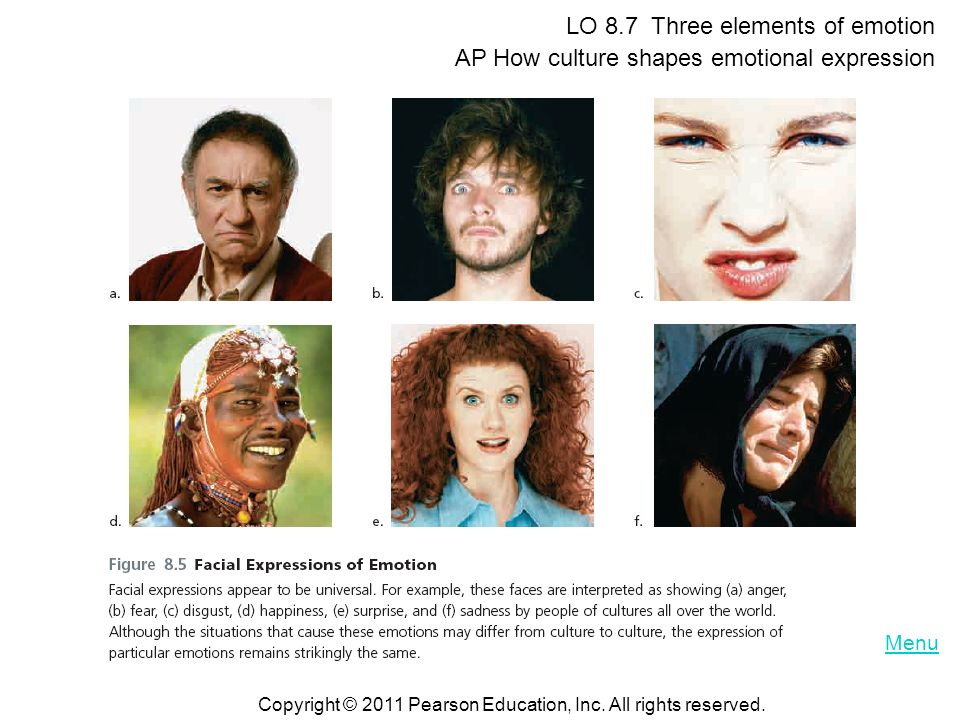 LO 8.7 Three elements of emotion