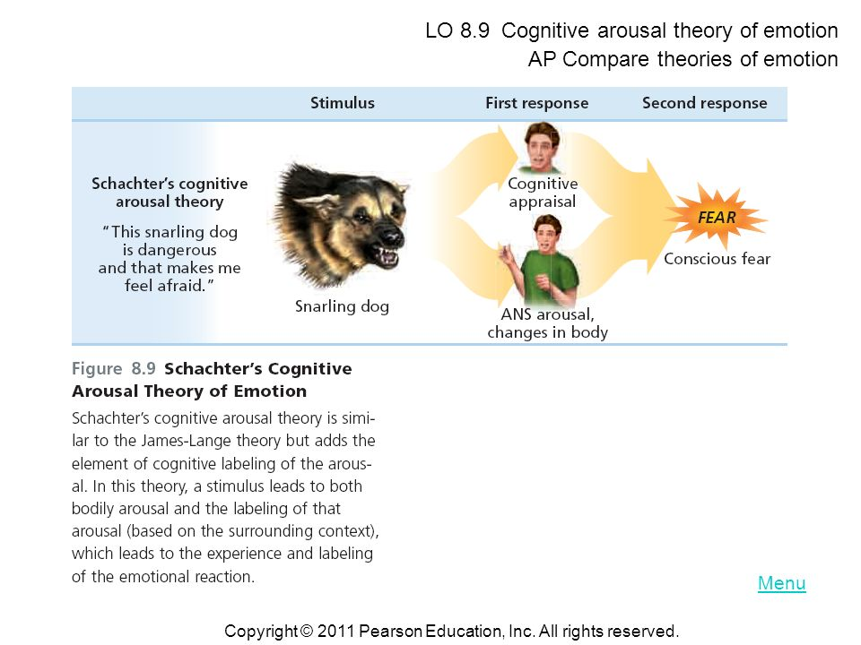 LO 8.9 Cognitive arousal theory of emotion
