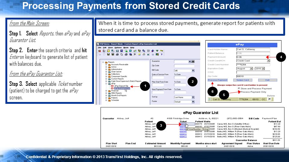 Processing Payments from Stored Credit Cards