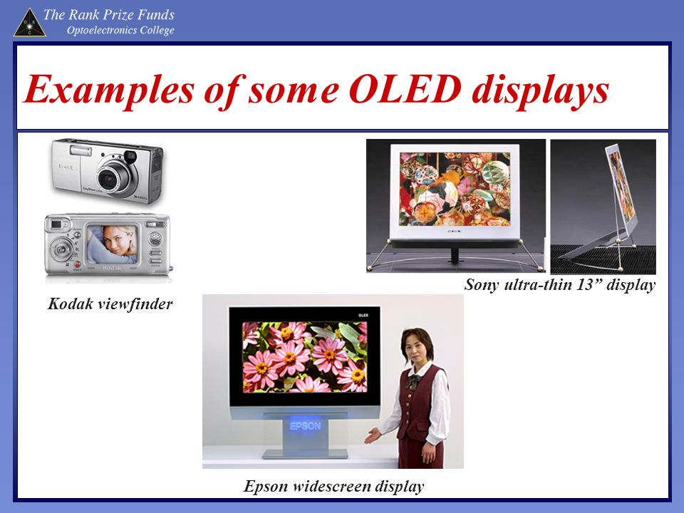 Examples of some OLED displays