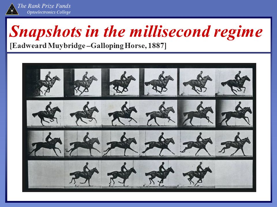 Snapshots in the millisecond regime [Eadweard Muybridge –Galloping Horse, 1887]