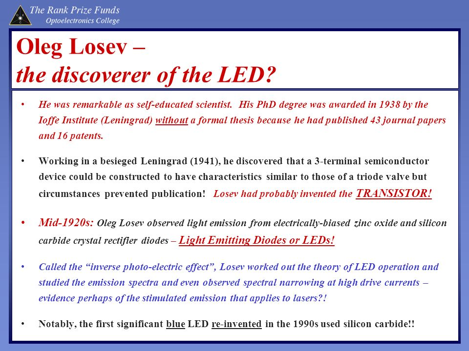Oleg Losev – the discoverer of the LED