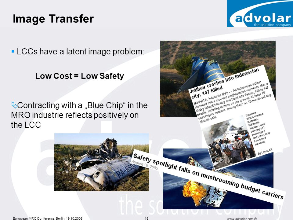 Image Transfer LCCs have a latent image problem: Low Cost = Low Safety