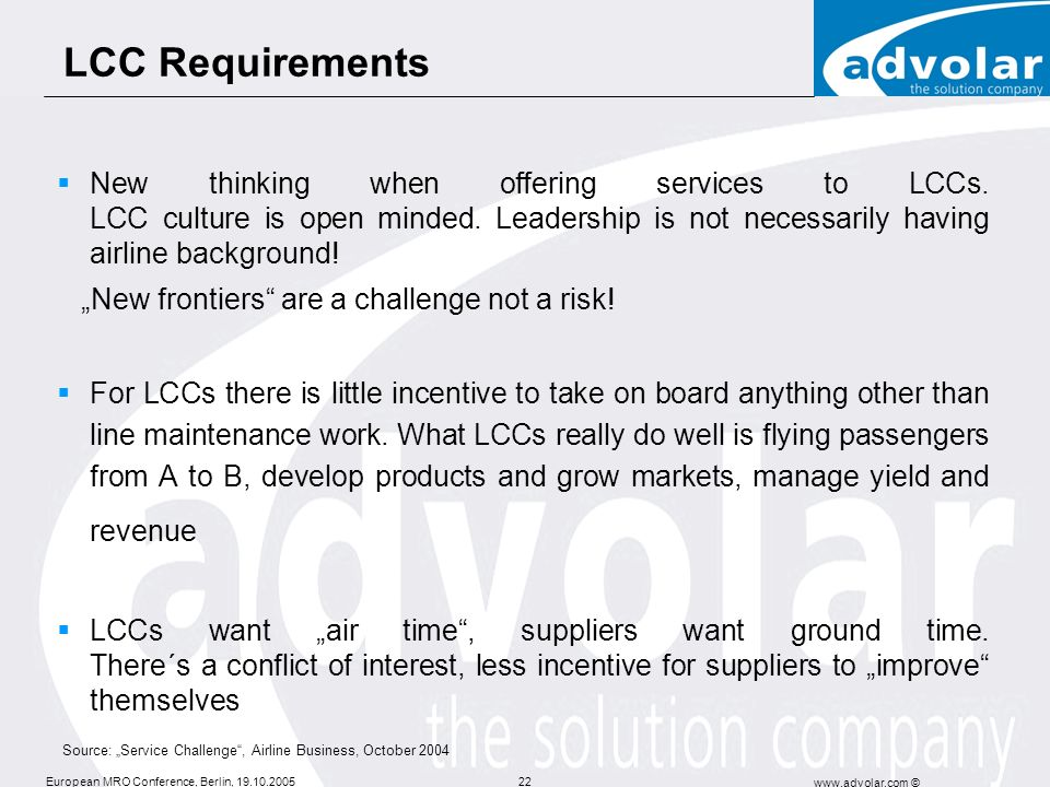 LCC Requirements
