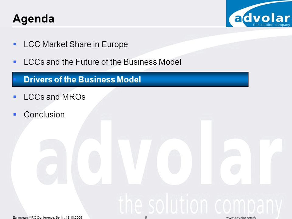 Agenda LCC Market Share in Europe