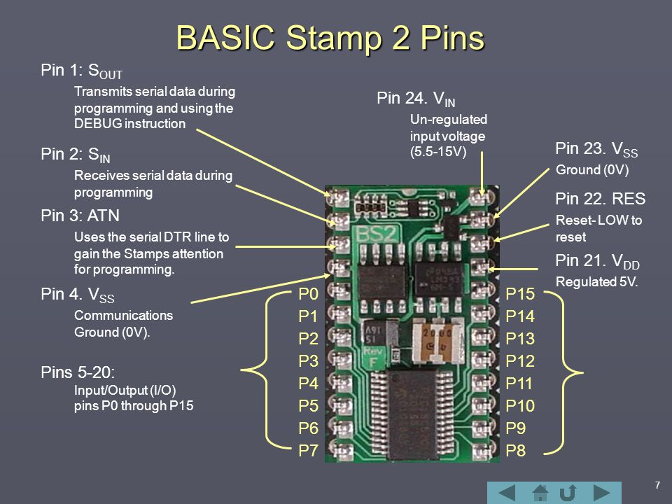 BASIC Stamp 2 Pins Pin 1 SOUT