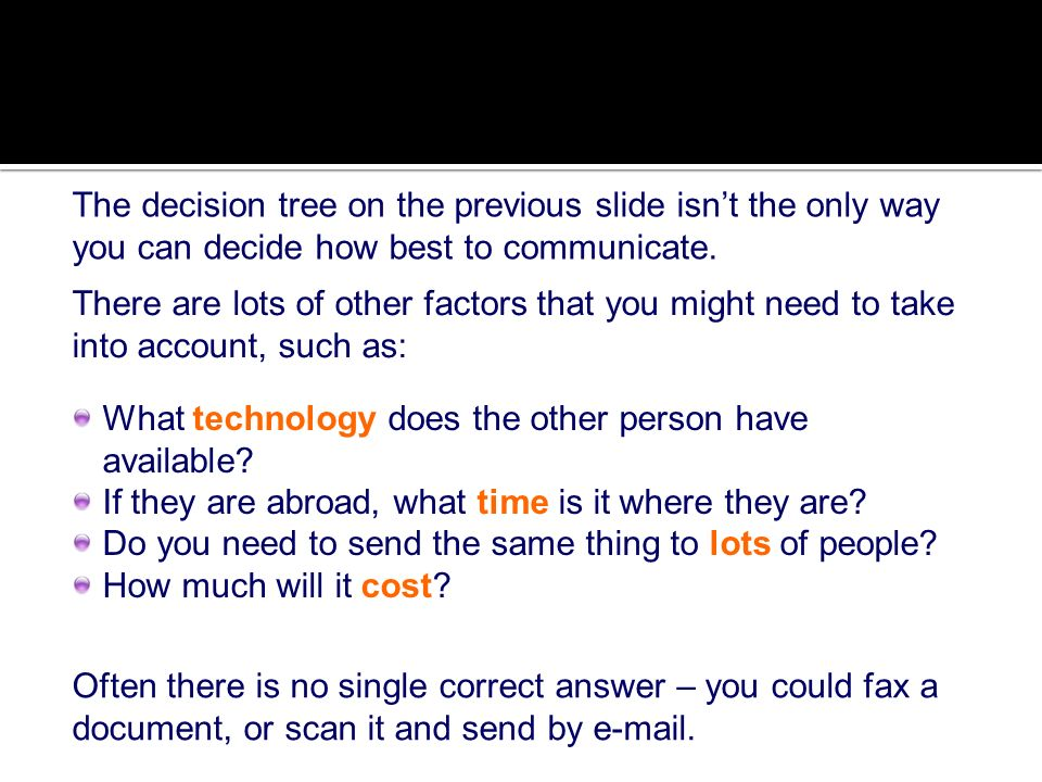 The decision tree on the previous slide isn't the only way you can decide how best to communicate.