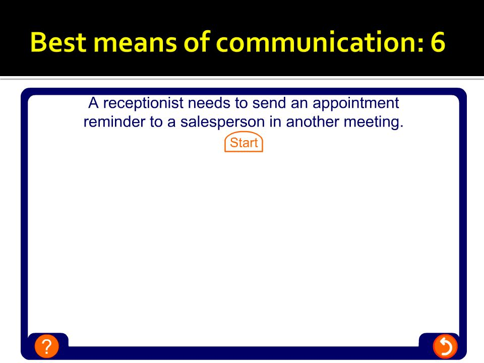 Best means of communication: 6