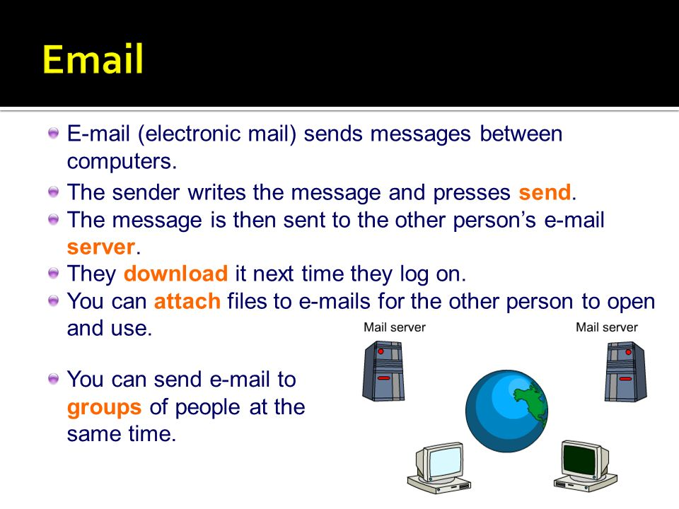 (electronic mail) sends messages between computers.