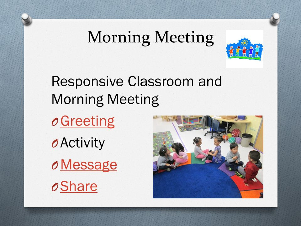 Welcome to kindergarten ppt download 5 morning meeting responsive classroom and morning meeting greeting m4hsunfo
