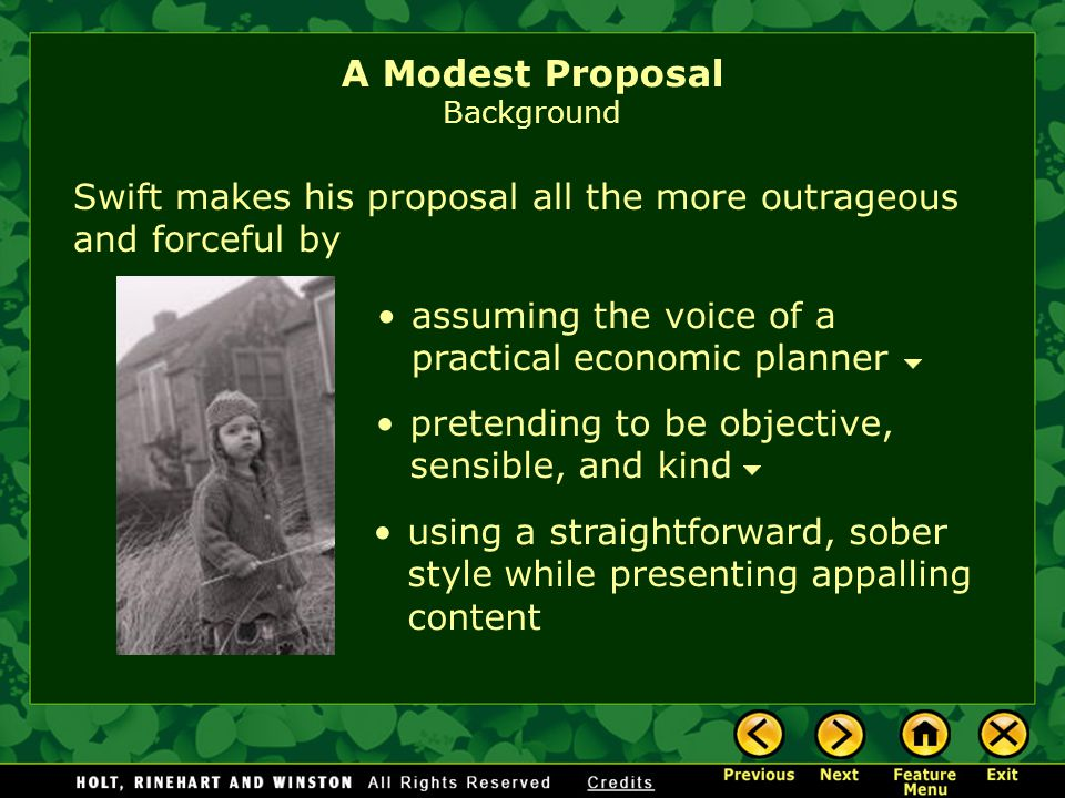 an analysis of the narrators expressions in a modest proposal by jonathan swift Swift's moral satire in gulliver's travels in its most serious function, satire is a mediator between two perceptions-the unillusioned perception of man as he actually is, and the ideal perception, or vision, of man as he ought ot be, (bullitt, 3.
