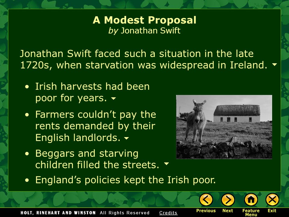 modest proposal analysis A modest proposal for preventing the children of poor people in ireland from being a burden to their parents or country, and for making them beneficial to the public, commonly referred to as a modest proposal, is a juvenalian satirical essay written and published anonymously by jonathan swift in 1729.