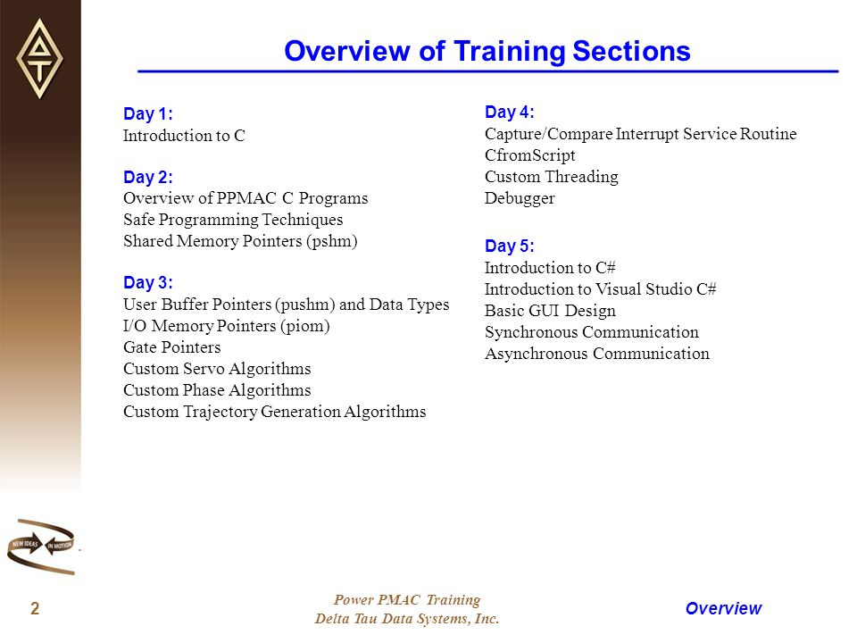 DELTA TAU DATA SYSTEMS, INC  POWER PMAC C/C# TRAINING - ppt download