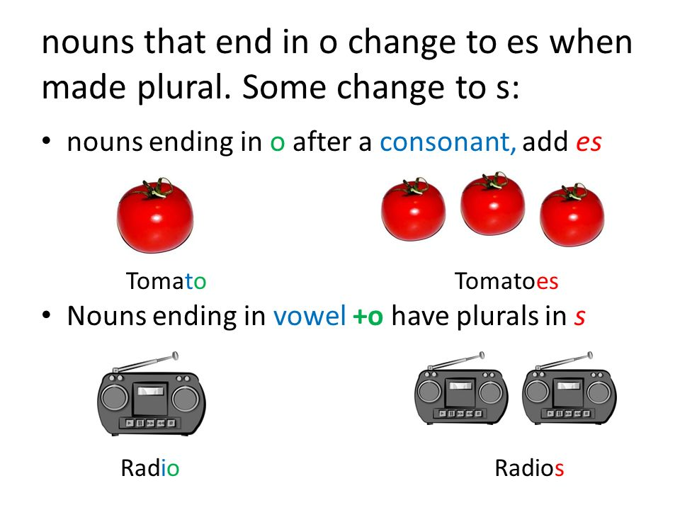 nouns that end in o change to es when made plural. Some change to s: