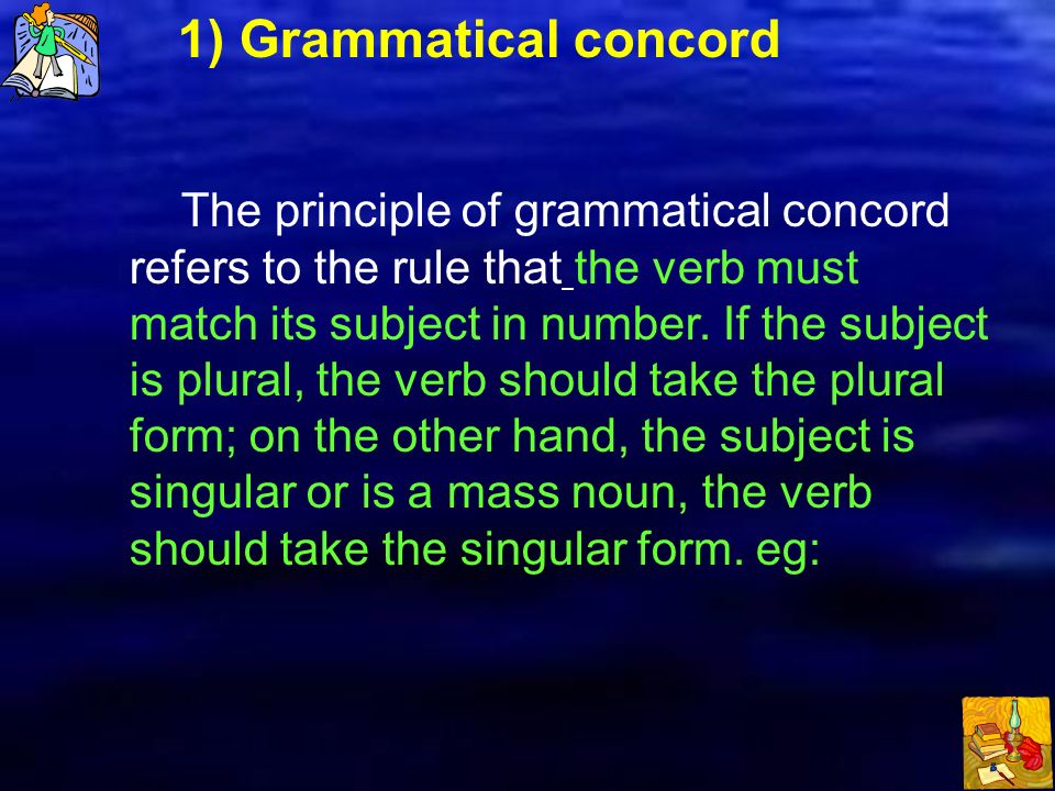 rules of grammatical concord