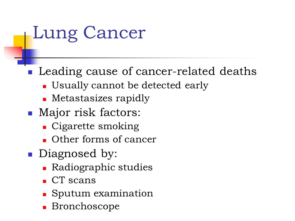 Lung Cancer Leading cause of cancer-related deaths Major risk factors: