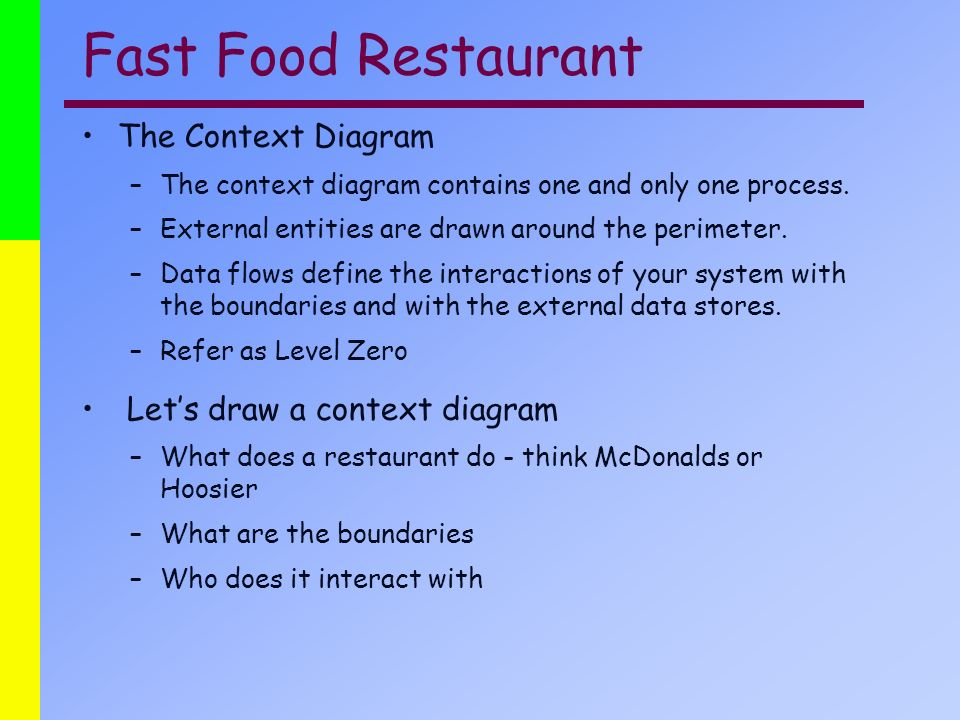 Information systems system analysis 421 class seven ppt video fast food restaurant the context diagram lets draw a context diagram ccuart Gallery