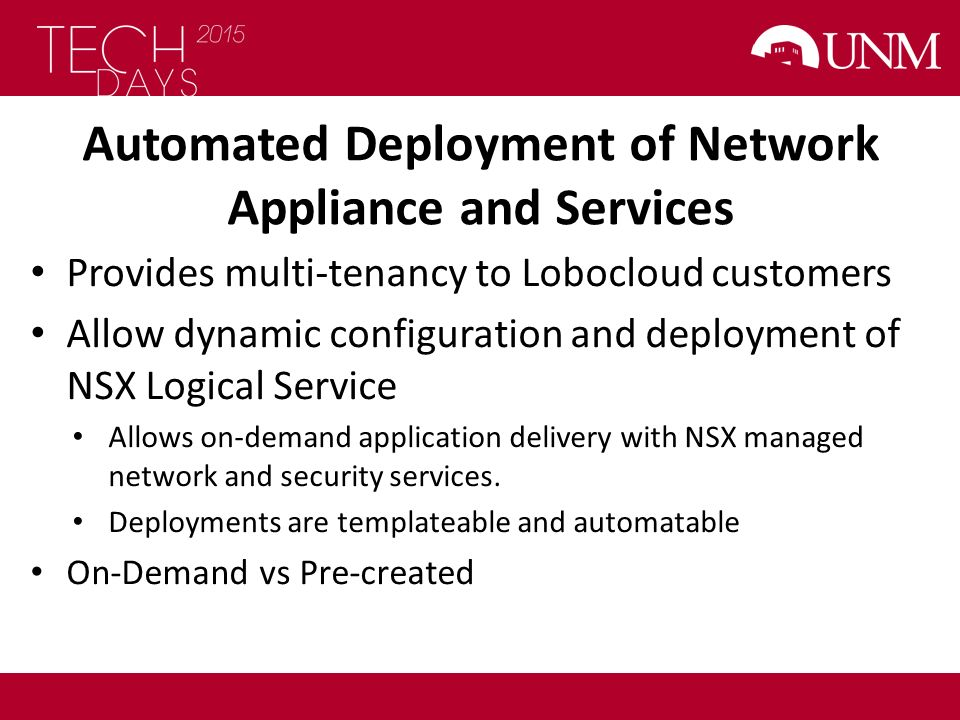 Automated Deployment of Network Appliance and Services