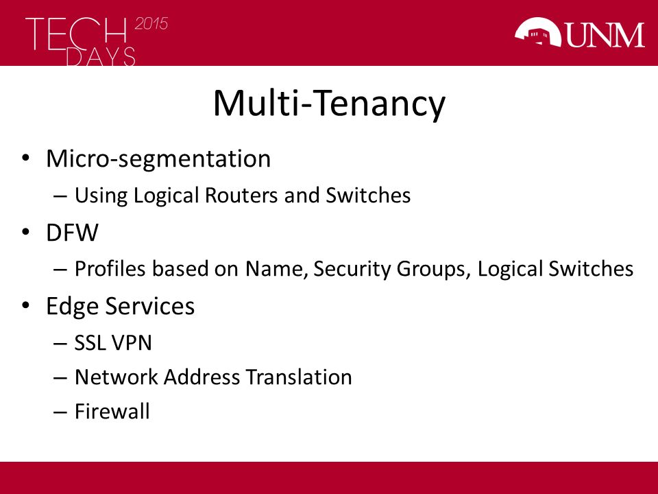Multi-Tenancy Micro-segmentation DFW Edge Services