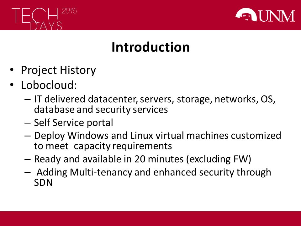 Introduction Project History Lobocloud: