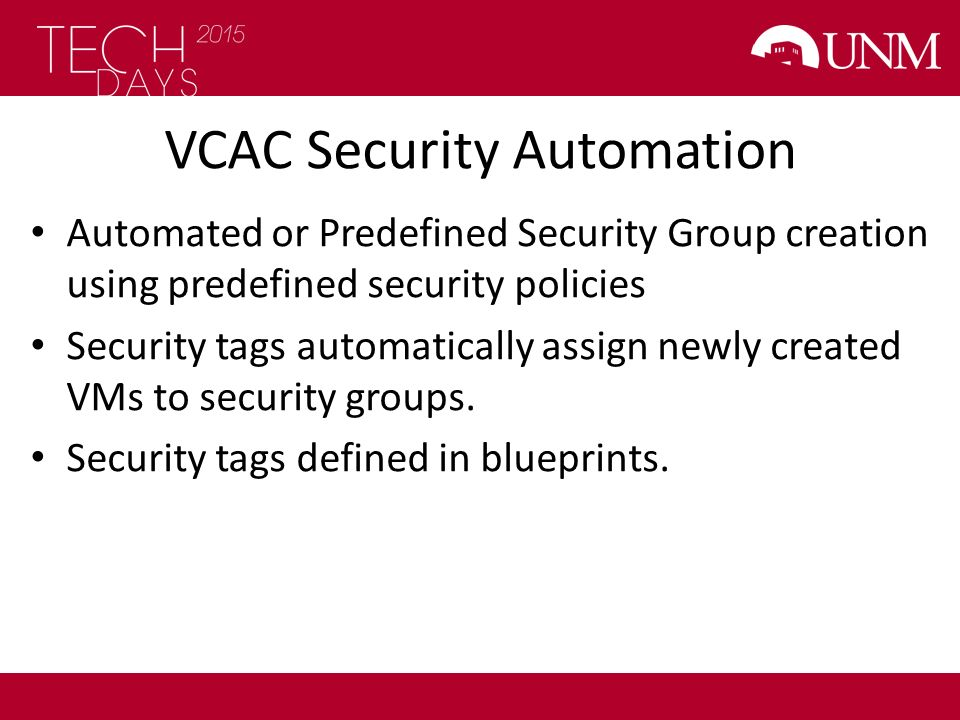 VCAC Security Automation
