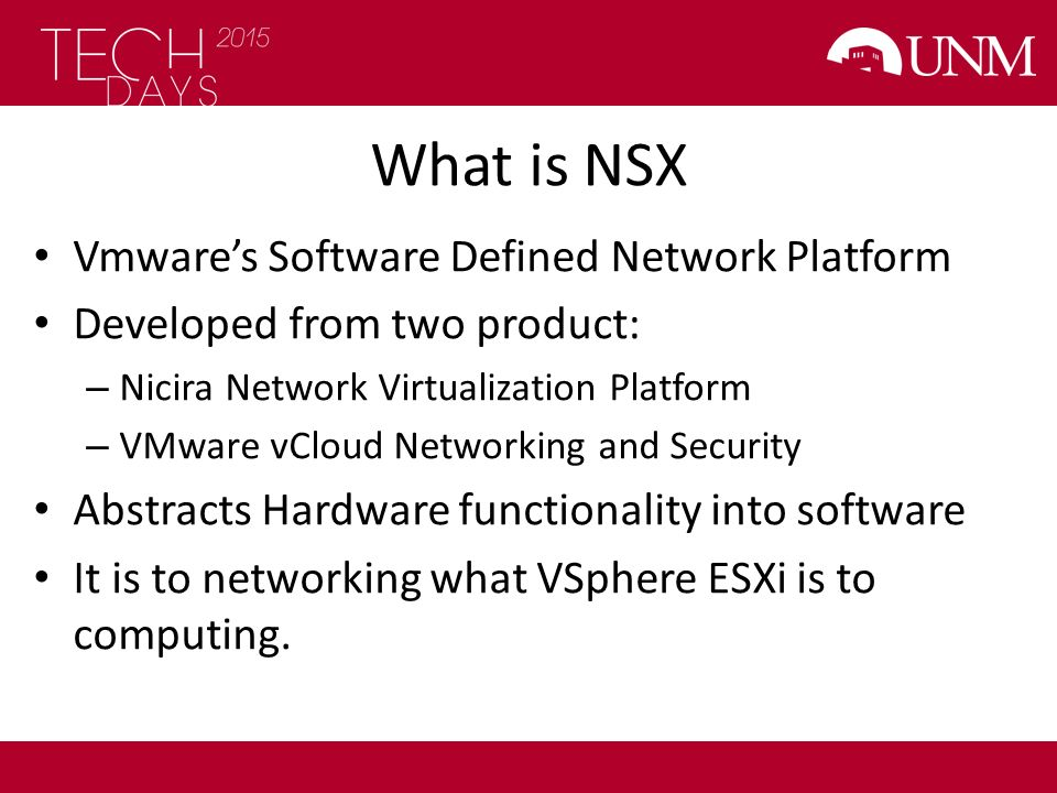 What is NSX Vmware's Software Defined Network Platform