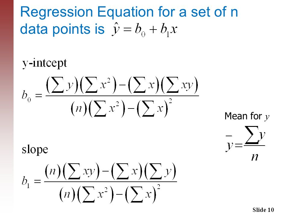 Regression Equation for a set of n data points is