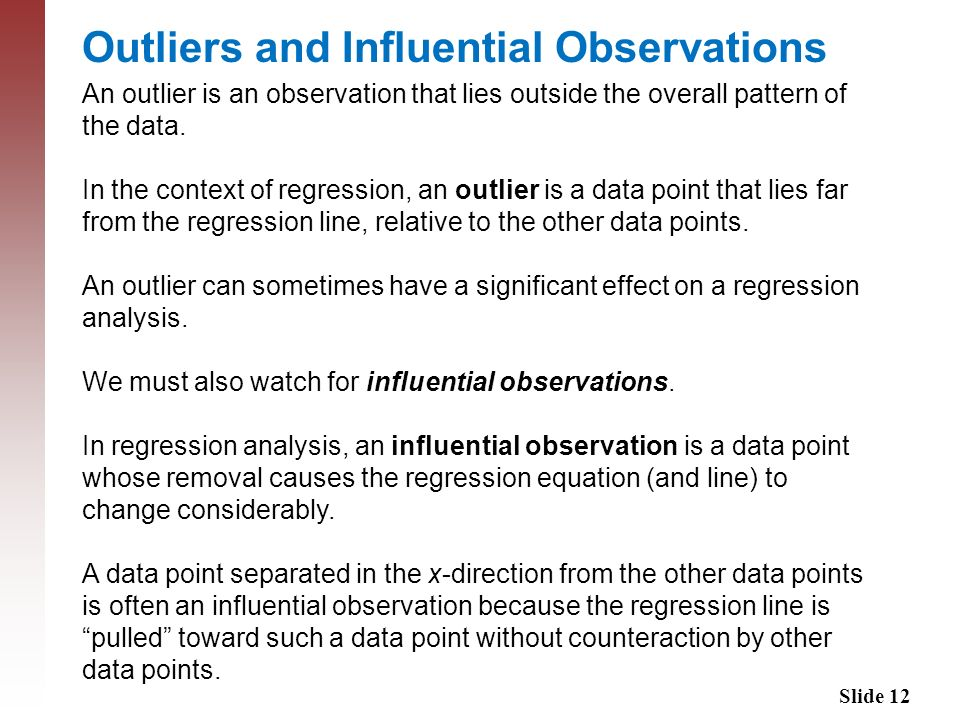 Outliers and Influential Observations