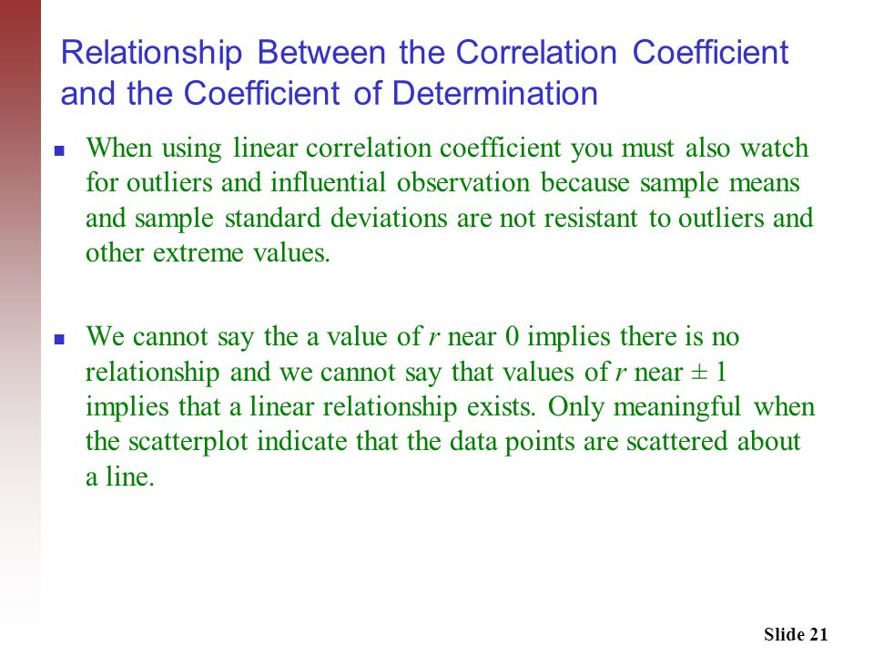 Relationship Between the Correlation Coefficient and the Coefficient of Determination