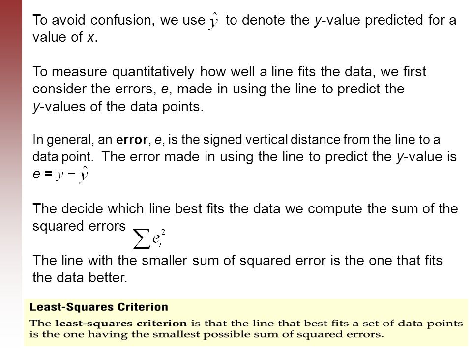 To avoid confusion, we use to denote the y-value predicted for a value of x.