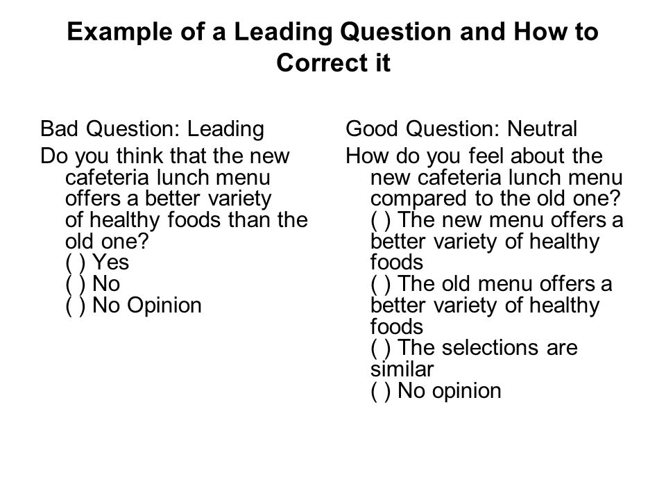 the effects of leading questions on memory Although precautions were taken, such as not informing participants of the hypothesis, some of the questions in the survey could have been seen as leading questions page 7 of 7 questionnaire - the effects of sleep deprivation on memory for each of the questions below, please select the.