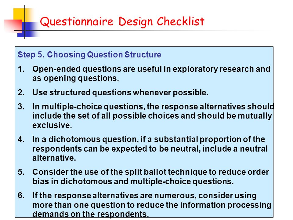 Questionnaire & Form Design - ppt download