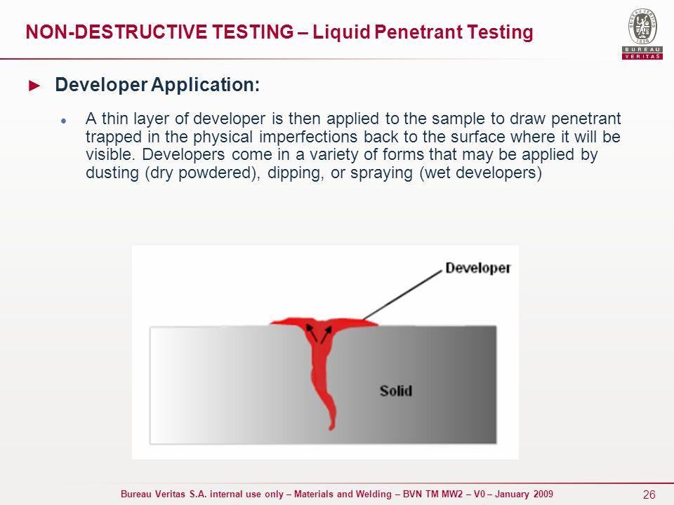 Non Destructive Tester : Materials and welding bvn tm mw non destructive testing