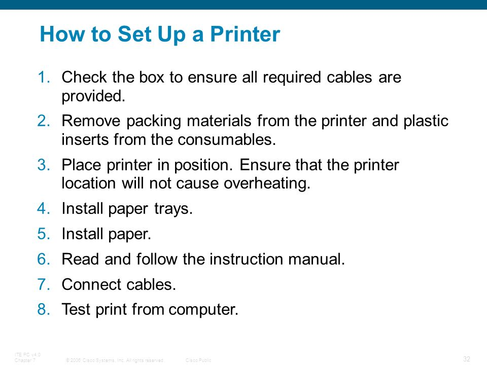 How To Set Up A Printer Check The Box Ensure All Required Cables Are Provided