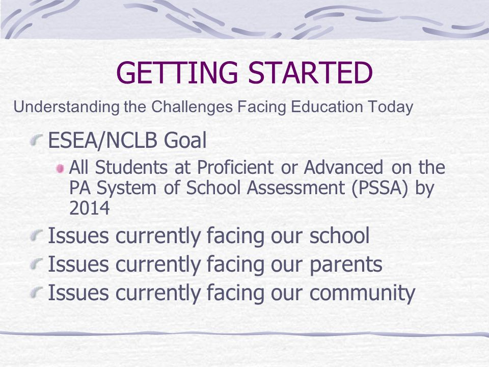 GETTING STARTED ESEA/NCLB Goal Issues currently facing our school