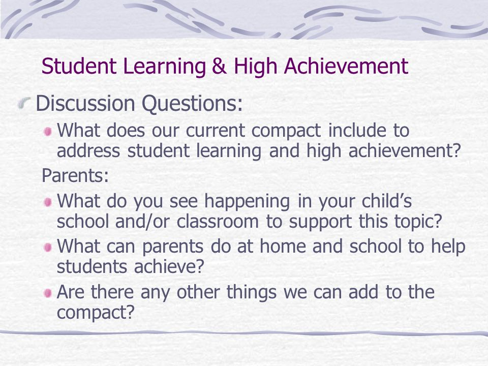 Student Learning & High Achievement