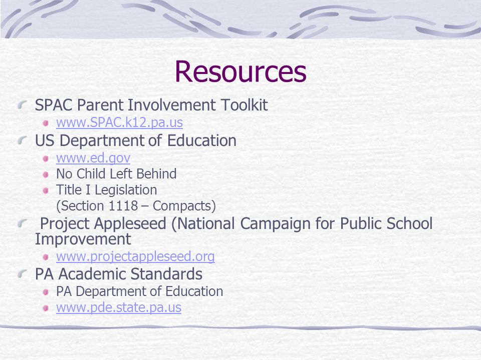 Resources SPAC Parent Involvement Toolkit US Department of Education