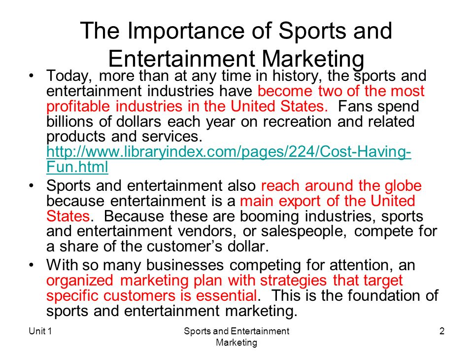 What is Sports and Entertainment Marketing?? - ppt download