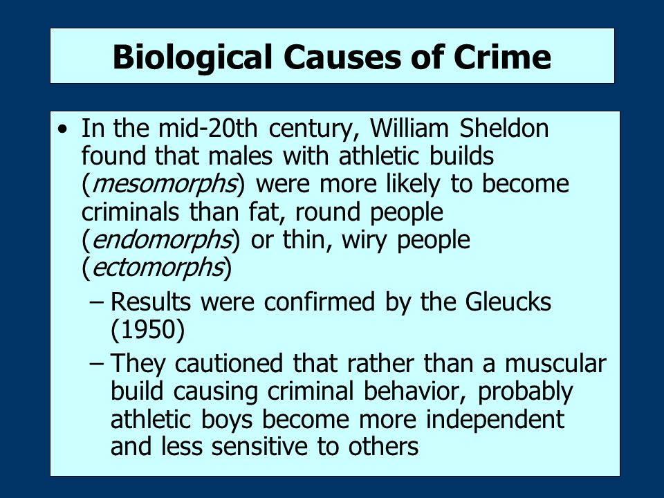 criminal biology This video lecture for the undergraduate criminology course of the university of maine at augusta reviews the logic and empirical results of twin studies and adoption studies of criminal behavior.