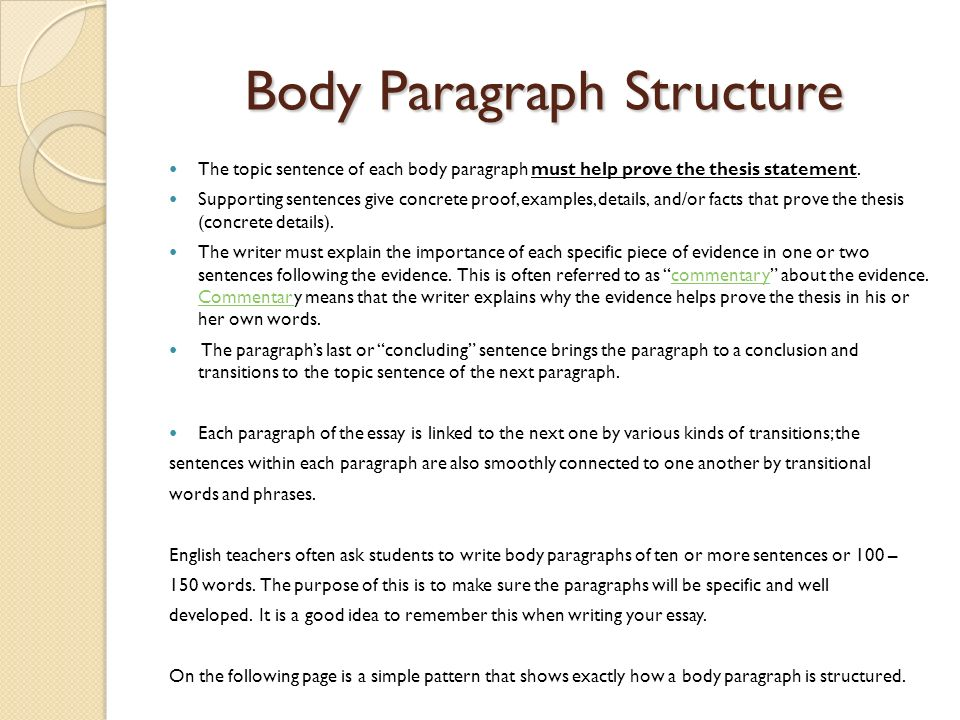 english paragraph structure