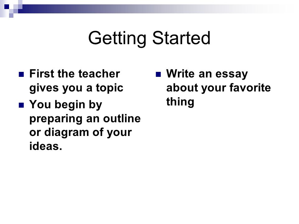 Getting Started First the teacher gives you a topic