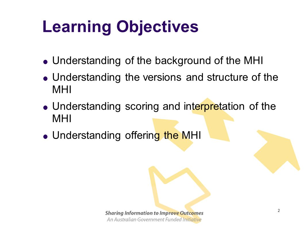 Learning Objectives Understanding of the background of the MHI