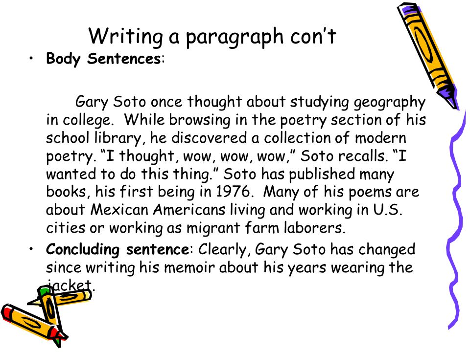 Writing a paragraph con't