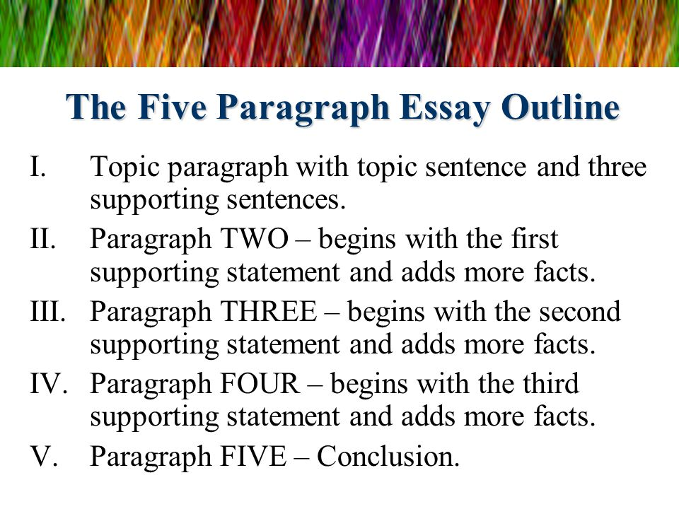 outline for a five paragraph essay 5 paragraph essay outline template creating a 5 paragraph essay outline template is the best place to start writing an essay paper consisting of five paragraphs.