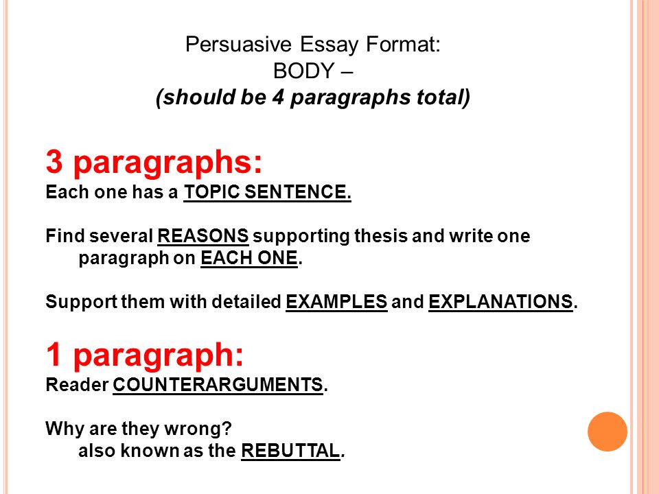 Persuasive Essay Format Introduction  Ppt Video Online Download Persuasive Essay Format Introduction  Should  5 Paragraph Essay Topics For High School also Sample Argumentative Essay High School  Thesis Support Essay
